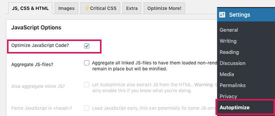 Autoptimize plugin to Reduce Render-Blocking JavaScript and CSS